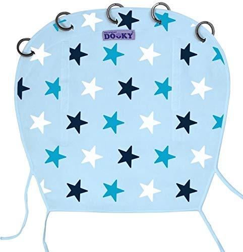The Original Dooky Pare-soleil 100 % en coton, universel pour poussette et landau, facile à monter avec anneaux, respirant, protège toujours du soleil 40 + SPF, répare du vent et de la pluie, réglable avec velcro Azzurro con stelle tono su tono - Baby Blue/Blue Stars