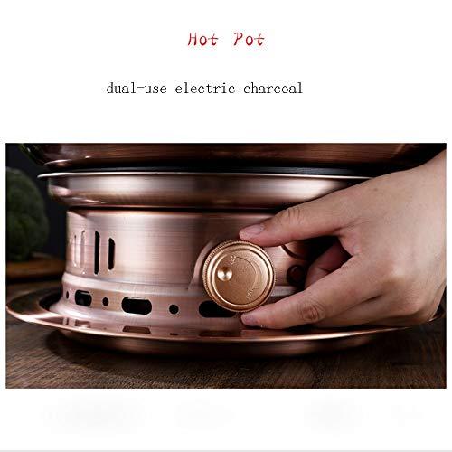 41SuH0HQNWL - Lamyanran Fondue-Fritteusen 4-6 Person 32cm Qualitäts-Knopf Kupfer Hot Pot Haushalt, reines Kupfer Stecker Altmodische Charcoal Old Beijing Shabu Hot Pot, leicht zu reinigen