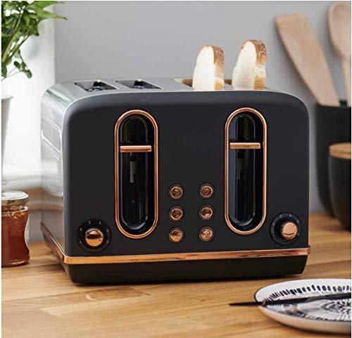 Tostadora de 4 rebanadas, color negro mate y cobre con funciones de descongelación y recalentamiento, diseñada con una bandeja deslizante para migas