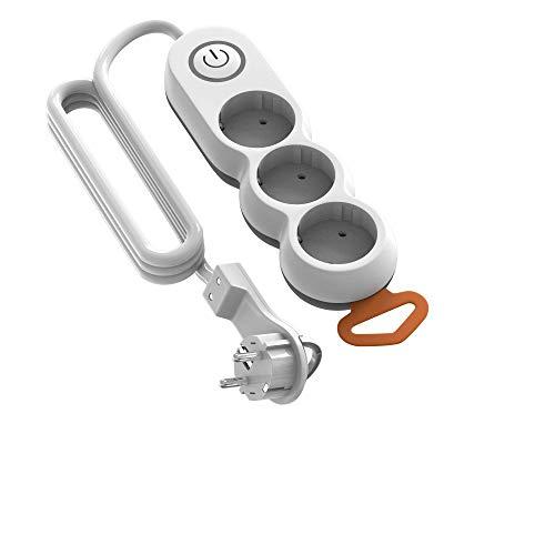 Garza - Regleta de 3 enchufes con Interruptor y protección Infantil, Enchufe Plano, Cable de 1,4 Metros