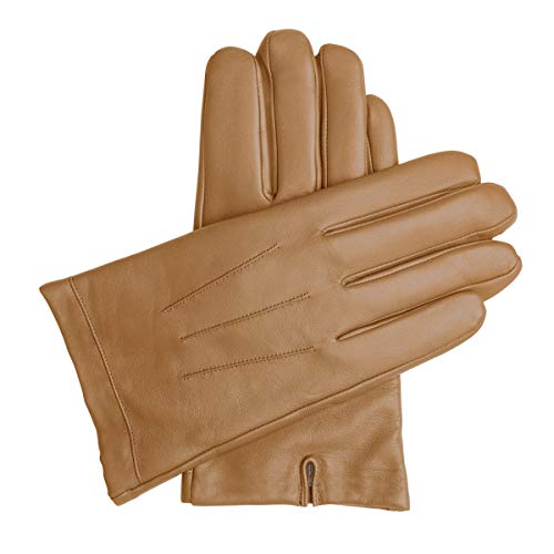 Downholme Classic Leather Cashmere Lined Gloves for Men (Tan, S)