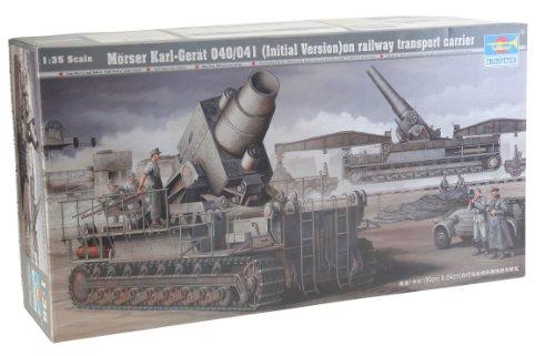 Trumpeter 00208 Modellbausatz Mörser Karl Gerät 040/041 auf Eisenbahn-Transport-Trailer