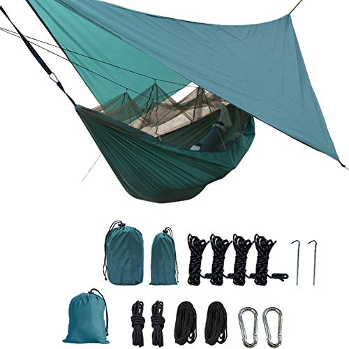 Portable Travel Camping Hammock, Lightweight Sleeping Hammock Bed with Mosquito Net Travel Bug Net & 260cm X 120cm, for Outdoor Camping Hiking Backpacking Picnic Travel, Load 200 KG,B,260140CM