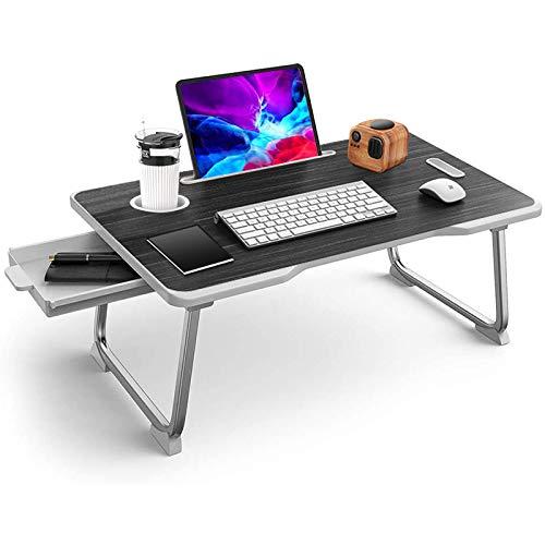 Mesa de cama para ordenador portátil, plegable, plegable, para regazo con cajón,...