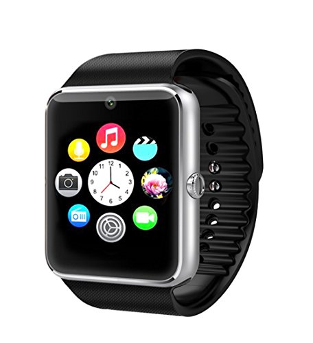 GT08 Bluetooth Smart Watch with Camera and SIM Slot for iPhone and Android Smartphones (Black)