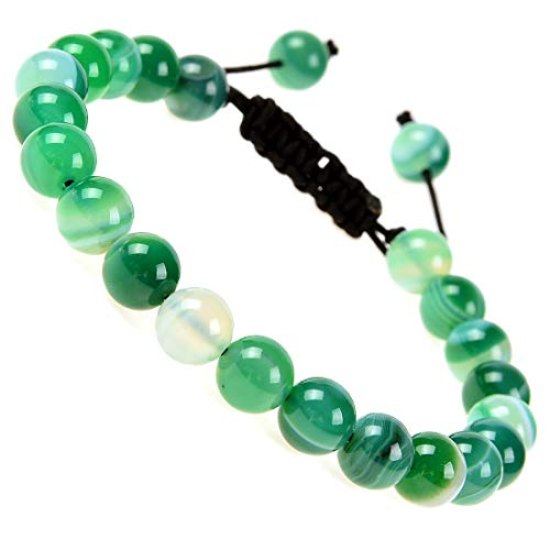 Massive Beads Natural Healing Power Gemstone Crystal Beads Unisex Adjustable Macrame Bracelets 8mm (Agate Green)
