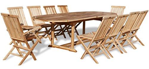 KMH®, Teak Gartensitzgruppe mit ausziehbarem Gartentisch für 10 Personen (#102213)