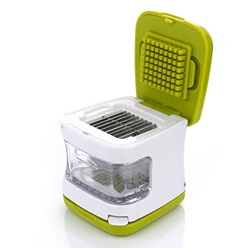 PAMISO Garlic Cube, Easy Garlic Press Garlic Chopper,Mini Garlic Press, Garlic Crusher, Garlic Dicer, Durable Plastic with Stainless Steel Blades