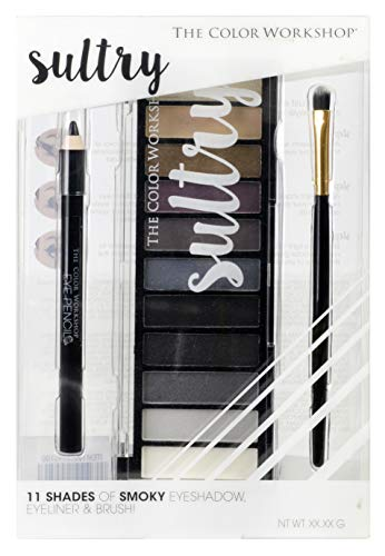 Sultry Eyeshadow Palette - The Color Workshop - Paleta de Sombras de Ojos - 11 Tonos Grises, Marrónes y Negros, con Pincel de Sombra de Ojos y Lápiz de Ojos
