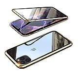YSAN iPhone11Pro ケース アルミバンパー 両面ガラス 360度全面保護 クリアフルカバー 表裏磁石 耐衝撃 マグネット式 人気 薄型 Qi充電対応 (iPhone11 Pro, ゴールド)