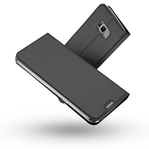 RADOO Galaxy S8 Hülle,Galaxy S8 Lederhülle, Premium PU Leder Handyhülle Brieftasche-Stil Magnetisch Klapphülle Etui Brieftasche Hülle Schutzhülle Tasche für Samsung Galaxy S8 (Schwarz grau)