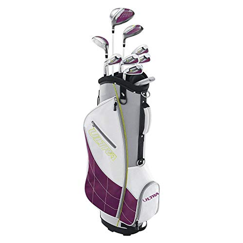 Wilson Ultra Womens Left Handed Super Long Golf Club Set with Cart Bag, Plum