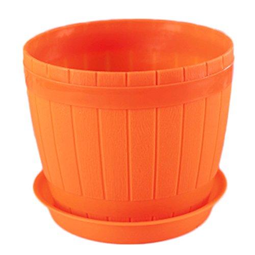 Outflower Petits pots de fleurs en plastique de 11 cm en forme de tonneau de bois Orange