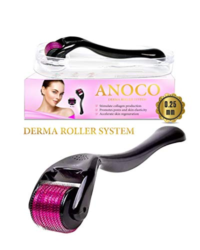 Anoco Derma Roller Cosmetic Microneedling Tool Kit for Face and Body 540 Titanium Micro Needles 0.25mm Perfect for Skincare Beauty and Face - Includes Free Storage Case (1-Pack)