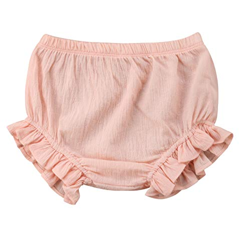 Lefyira Newborn Toddler Baby Girls Diaper Cover Ruffle Bloomers Solid Color Underwear Shorts Pants for Photos (D-Pink, 9-18 Months)