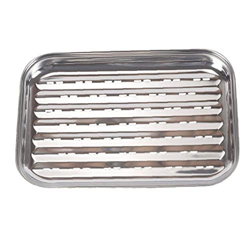 Långpanna Stainless Steel rektangel Barbecue Plate Vegetabiliska Cooker Grill Pan Silver, utegrill Supplies