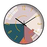 SQINAA10,12インチ現代のスタイリッシュなエレガントサイレントメタルラウンドウォールクロック、カラーパターンクリエイティブウォールクロックのリビングルームベッドルームオフィスキッチン,30cm