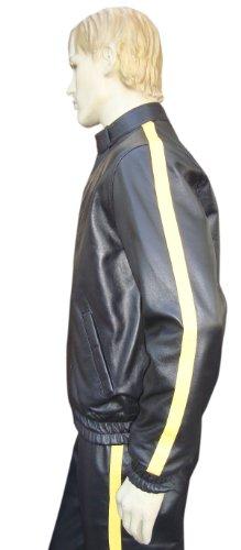 Bespoke Survêtement en cuir sur mesure avec une bande jaune - - 91,60 cm - M