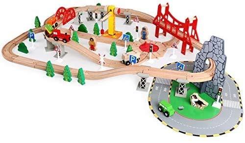 100st Houten Trein Set Accessoires/Solid Wood Rail Transit Scene Train Set/DIY Gemonteerd Toy Model, Jongens Meisjes Pretend Game Train Stad Spelen Kit voor