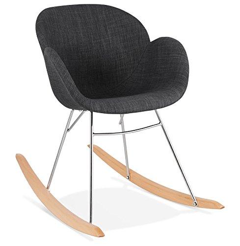 Alterego Chaise à Bascule Design 'Rocky' Grise foncé en Tissu