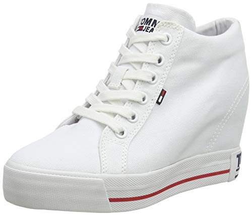 Tommy Jeans Damen Wedge Casual Sneaker, Weiß (White Ybs), 40 EU