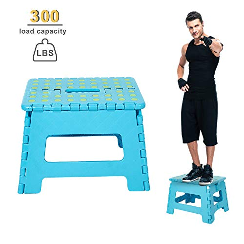 Dporticus 8 Inch Super Strong Folding Step Stool with Handle 300 LB Capacity for Adults, Toddlers and Kids, Kitchen, Garden, Bathroom Blue