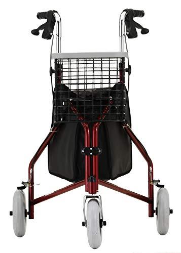 "NOVA Traveler 3 Wheel Rollator Walker, All Terrain 8"" Wheels, Includes Bag, Basket and Tray, Red"