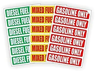 DIESEL | MIXED FUEL | GASOLINE ONLY Automotive Fuel Decals | Stickers | Truck Labels | Green Vinyl Markers (3) 6-packs