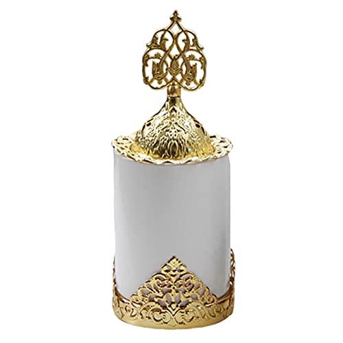 FLAMEER Quemador de Incienso de Metal Difusor de Aceite árabe de cerámica de Metal para decoración de Chimenea de Mesa cafetería - Blanco