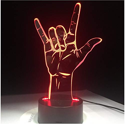 I Love You Sign Language 3D LED Optical Illusion Hologram Night Light USB Operated Romantic Valentine' Day Party Decoration 7 Color Change Without Controller