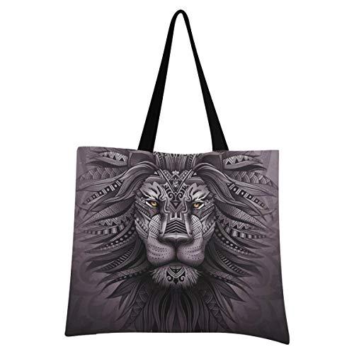 XIXIXIKO - Bolso de lona para mujer, diseño abstracto étnico, de león, ligero, para playa, viajes, para mujer