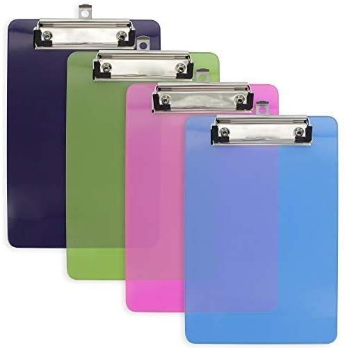 """Emraw Plastic Clipboard Translucent Small Memo Pad Size Hardboard (6"""" x 9"""") Sturdy Durable Low Profile Clip with Hanging Loop for Home, Offices, Schools, Hospitals - 4 Pack"""