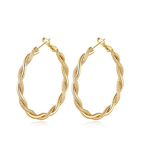 Yumay-Twisted - Pendientes aro oro 9 quilates relleno