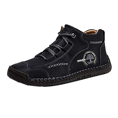 Outdoor Lofer Herren Flache Freizeit Schuhe Freizeitschuhe Atmungsaktive Vintage Manuelles Nähen Schnürhalbschuhe Bequemes Weiches Leder Fahrschuhe, Schwarz, 40 EU