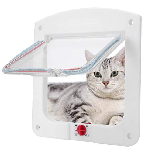 WENTS Katzenklappe Pet Tür Klappe Tür Kunststoff abschließbar Pet Tür 4 Verriegelung Weg für Pet Klein Katze Hund Pet Supplies Ideal für große Katzen oder kleine Hunde Weiß