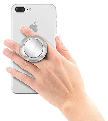 Jumpop ausziehbarer Handgriff und Sockel für Smartphone / Tablet / Kindle / E-Book [selbstklebend, Spiegel, kompatibel mit Magnethalterungen, große und kleine Hände, Standfunktion] silber matt