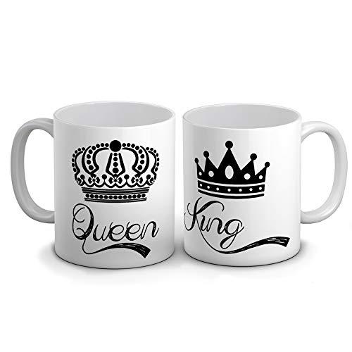 Idea Regalo Innamorati sanvalentino Coppia Tazze Queen King, Anniversario, Festa di Fidanzamento proposta di Matrimonio, Fidanzata, Partner Amica o per qualche Altra Occasione