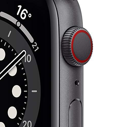 AppleWatch Series6 (GPS+ Cellular, 44mm) Aluminiumgehäuse Space Grau, Sportarmband Schwarz