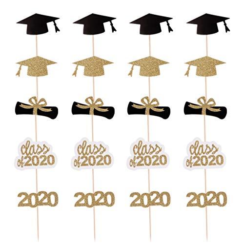 Amosfun 2020 Graduación Cupcake Topper Glitter Bachelor Cap Cake Topper Clase de 2020 Cake Topper para Fiesta de Graduación Decoración Suministros 20 Piezas