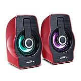 Altavoces estéreo para portátiles y Ordenadores Audiocore AC855 B: 20Hz-18kHz, Potencia: 3W x 2 (RMS), Salida de Audio de 3,5 mm, Retroiluminación LED, Carcasa en Negro o Rojo a Elegir (Rojo)