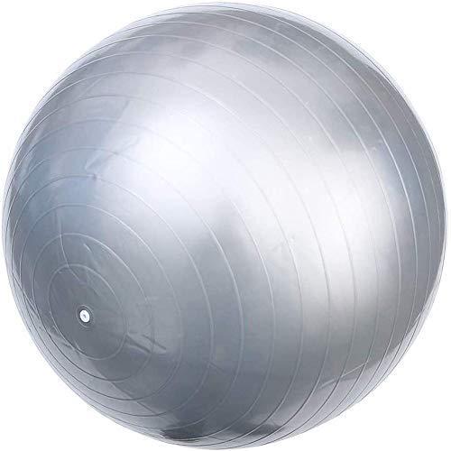 HLH Fitness Yoga Ball PVC Fitness Ball Pilates Fitness Ball, Espesado a Prueba De Explosiones, Seguro E Insípido, Equipado con Tapones De Bomba para Ejercicios Aeróbicos Pilates (Plata 75 Cm)