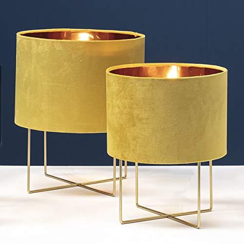 Bada Bing Hochwertige Moderne Tischleuchte Mit Lampenschirm in GELB Ca. Ø 34,5 x H. 43,5 cm Tischlampe in Gold-Optik Mit Samtschirm Und Metallgestell Edel Elegant Geschenk Deko 54