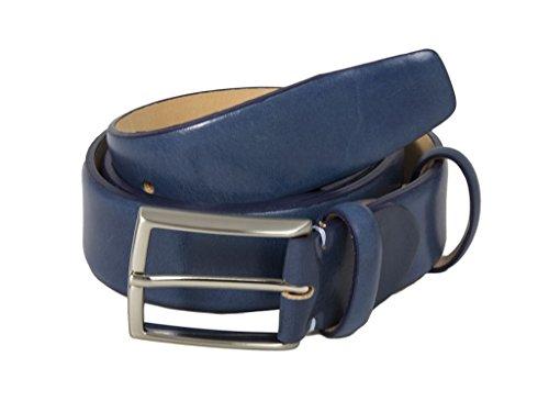40 Colori - Cintura in Pelle Venezia, Blu Notte, X-Large (110cm)