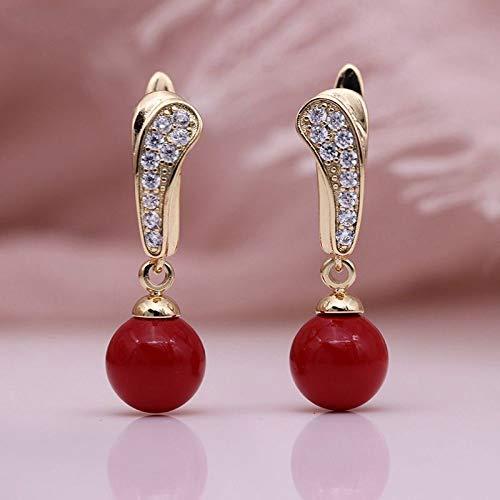 CHQSMZ Pendientes Nuevas Perlas de Concha Fina cuelgan Pendientes Largos Mujeres joyería de Moda romántica circón Natural 585 Pendiente de Regalo pequeño de Oro Rosa