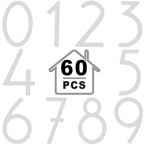 60 Pieces Vinyl Mailbox Numbers Stickers in 2 Inch Reflective Adhesive Waterproof 0-9 Door Number Sticker Street House Address Number Decal for Residence, Apartment, Office Room, Window Cars (White)