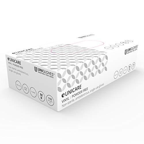 Unigloves UCV1202 - Guantes de vinilo sin guantes (tamaño pequeño, 100 unidades)