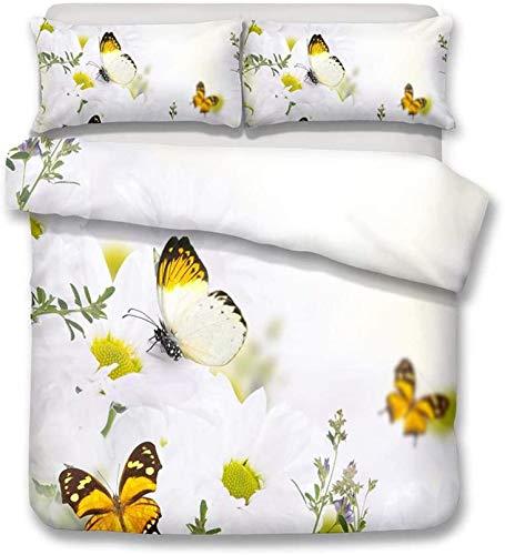 DIELUNY 3D Butterfly Flower Duvet Cover Set Bedding Set Soft Microfiber with 2 Pillowcases,Hidden Zipper,Double Size 78.7x78.7 inch
