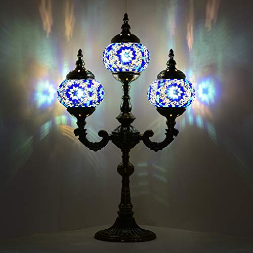 Mosaic Table Lamp Marrakech Handmade Turkish Mosaic Glass Lamp 3 Globes Candelabra Moroccan Tiffany Style Lamp Decorative Night Light for Living Room Bedroom (Blue)