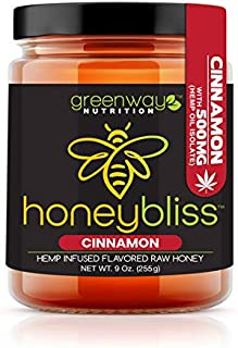 Sponsored Ad - Honeybliss – Cinnamon Flavored Raw Clover Honey with 500mg Hemp Extract - 9oz Glass Jar | 100% Pure, Unfilt...