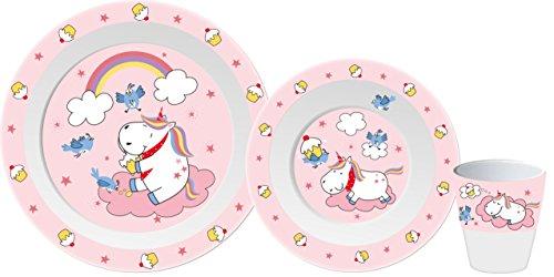 Gimex Kindergeschirrset Einhorn, Kindergeschirr Set Mädchen 3-teilig, Spülmaschinenfest Kinderteller, Kinderschüssel & Kinderbecher | Einhorn Kinder Geschirr Set Frühstücksset Melamin